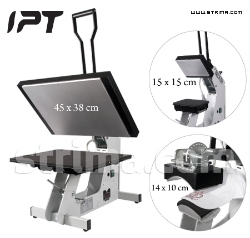 IPT fusing plate press for transfers, crystals and rhinestones, with 3 interchangeable sets of plates