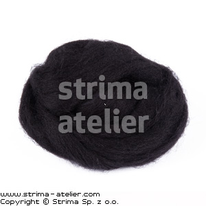 Worsted wool 28 microns - black - 28M P-2750