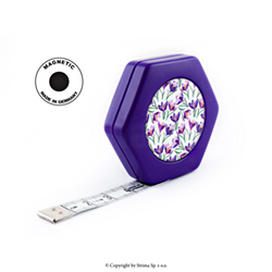 Rollfix obojestranski krojaški meter 150 cm - HEXAGON MAGNETIC PURPLE