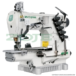 Zoje 3-needle cylinder bed coverstitch (interlock) machine for binding, with built-in AC Servo motor and needles positioning - machine head - ZOJE ZJC2503-164M-BD