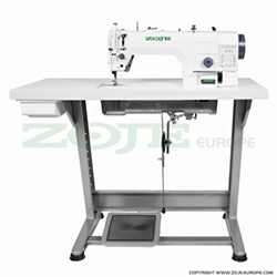 Zoje automatic lockstitch machine, needle feed, light and medium materials, built-in AC Servo motor, control box, closed lubrication circuit - complete machine