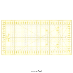 Quilting ruler, 160x320 mm, metric scale, yellow - TEXI 4067