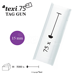 Tagging pins 15 mm Fine, neutral, 1 single box = 5.000 pcs - TEXI 75 PPF NEUTRAL 015