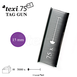 Tagging pins 15 mm Fine, Black, 1 single box = 5.000 pcs - TEXI 75 PPF BLACK 015