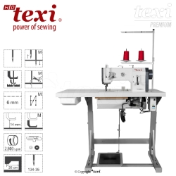Upholstery and leather lockstitch machine with unison feed, large hook, AC Servo motor - head only - TEXI HD FORTE-B UF PREMIUM