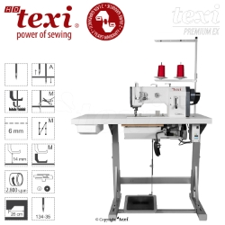 Upholstery and leather lockstitch machine with unison feed, large hook, AC Servo motor - head only - TEXI HD FORTE-B UF PREMIUM EX
