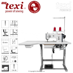 Upholstery and leather lockstitch machine with unison feed, large hook, AC Servo motor - head only - TEXI HD FORTE-B UF PREMIUM EX XL