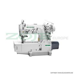 Zoje 3-needle flat bed coverstitch (interlock) machine with built-in AC Servo motor and needles positioning - machine head - ZOJE ZJW562A-1-BD-D3B (5.6mm)