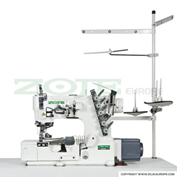 Zoje 3-needle flat bed coverstitch (interlock) machine for binding, with built-in AC Servo motor and needles positioning - machine head - ZOJE ZJW562A-2-BD (5.6mm)
