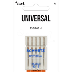 Universal needles for household machines, 5 pcs, size 80 - TEXI UNIVERSAL 130/705 H 5x80