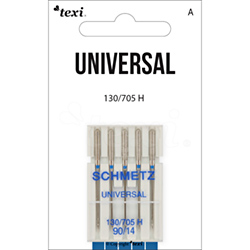 Universal needles for household machines, 5 pcs, size 90 - TEXI UNIVERSAL 130/705 H 5x90