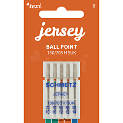Ball point needles (medium ball) for household machines, 5 pcs, size 70x2, 80x2, 90x1 - TEXI JERSEY 130/705 H SUK 2x70 2x80 1x90