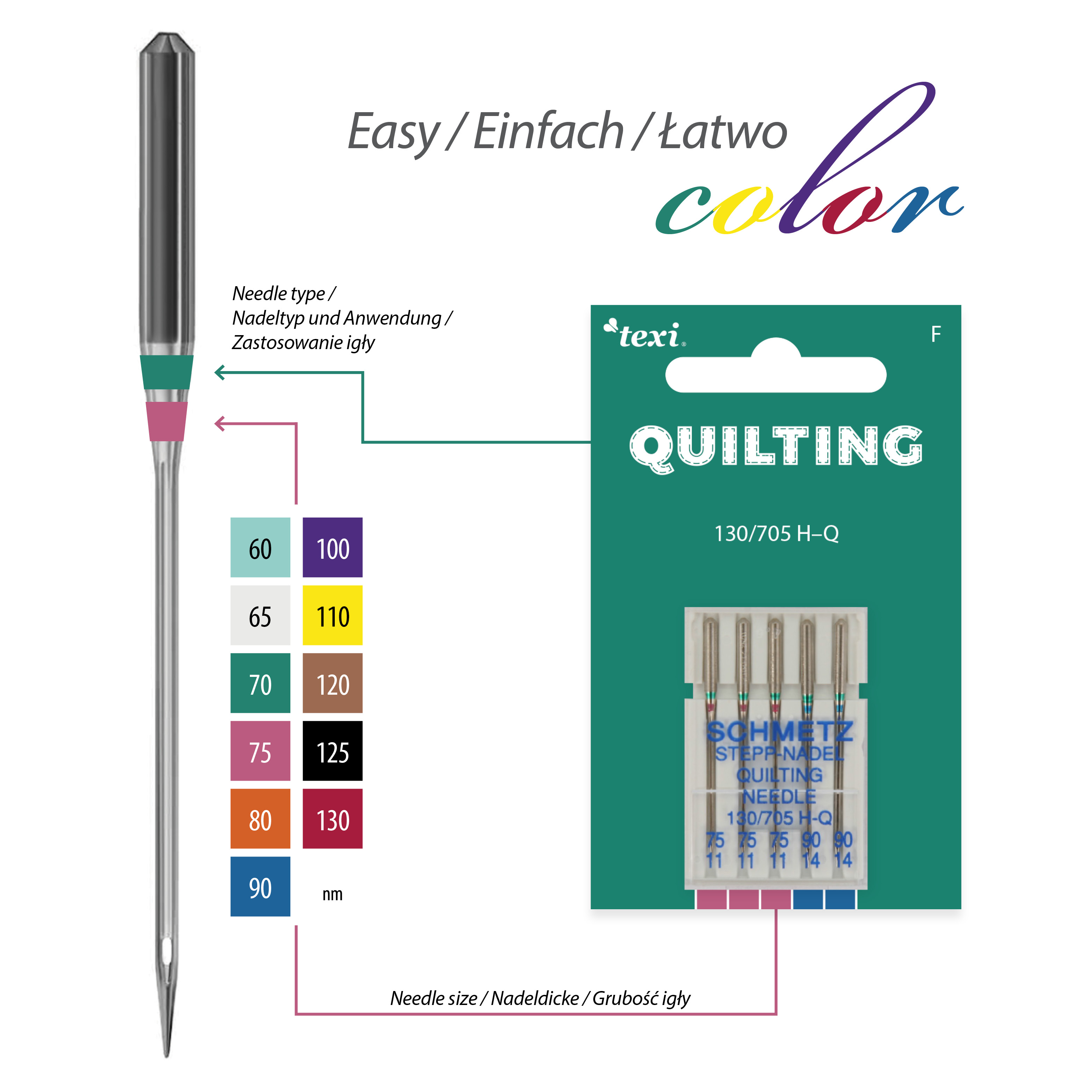 Quilting needles for household machines, 5 pcs, size 75x3, 90x2 - TEXI QUILTING 130/705 H-Q 3x75 2x90