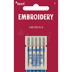 Embroidery needles for household machines, 5 pcs, size 90 - TEXI EMBROIDERY 130/705 H-E 5x90