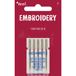 Embroidery needles for household machines, 5 pcs, size 75 - TEXI EMBROIDERY 130/705 H-E 5x75