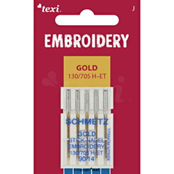 Embroidery gold needles for household machines, 5 pcs, size 90