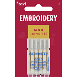 Embroidery gold needles for household machines, 5 pcs, size 75 - TEXI EMBROIDERY GOLD 130/705 H-ET 5x75