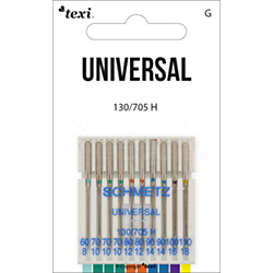 Universal needles for household machines, 10pcs, size 60x1, 70x3, 80x2, 90x2, 100x1, 110x1 - TEXI UNIVERSAL 130/705 H 10x60-110