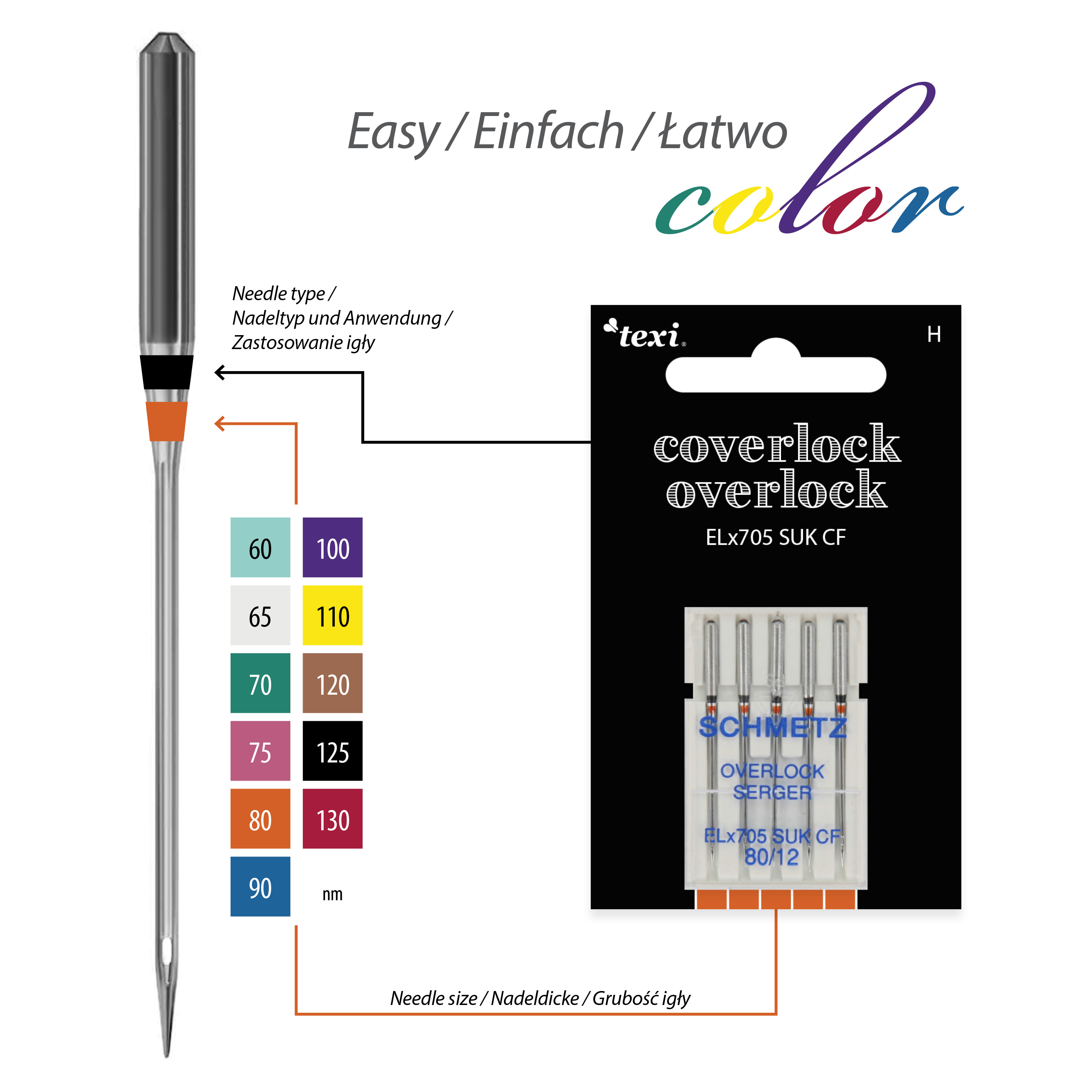 Needles for overlock/coverlock household machines, 5 pcs, size 80 - TEXI OVER/COVER ELX705 SUK CF 5X80