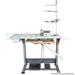 Zoje 4-thread overlock (safety stitch) machine for light and medium materials, with built-in AC Servo motor and needles positioning - machine head