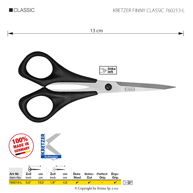 "Scissors for lefthanded, for threads and embroidery, length 5""/13 cm, pointed tips - KRETZER FINNY CLASSIC 760213-L"