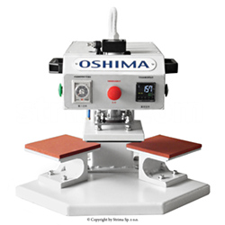 OSHIMA two-station fusing press machine for transfers, surface of both plates 15x15 cm - OP-15AII OSHIMA