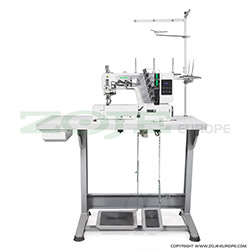 3-needle flat bed coverstitch (interlock) machine with built-in AC Servo motor and needles positioning - complete sewing machine