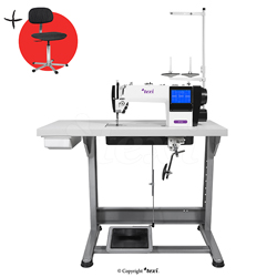 Automatic 1-needle lockstitch sewing machine for light and medium materials, with additional possibility of sewing decorative stitches.