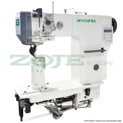 Zoje automatic post-bed lockstitch machine for medium and heavy material with bottom, needle and upper roller feed, with AC Servo motor - machine head