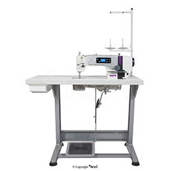 Mechatronic lockstitch machine for light and medium materials with needle positioning - complete machine