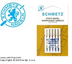 SCHMETZ embroidery needles 130/705H-E, 5pcs. 3x75, 2x90 - 130/705 H-E V3S