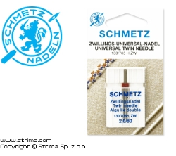 SCHMETZ twin needle 130/705H ZWI, pair, distance 2,0mm, 2x80 - 130/705 H ZWI NE 2,0 SCS