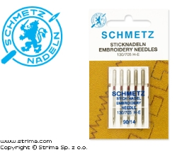 SCHMETZ embroidery needles 130/705H-E, 5pcs. 5x90 - 130/705 H-E VDS